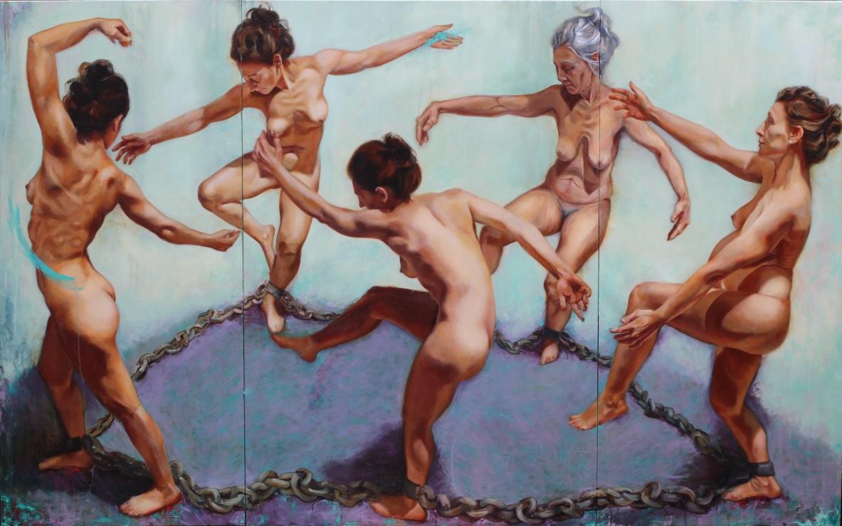 "Oil on canvas (triptych: 28"" x 60"", 40"" x 60"", 28"" x 60"")"