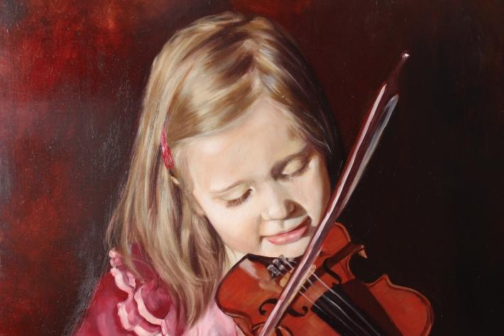 Olivia, close-up (oil on panel, 60 x 60 cm)